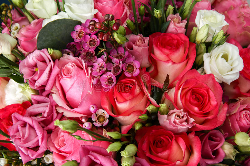 Huge bouquet of roses. And various flowers stock images