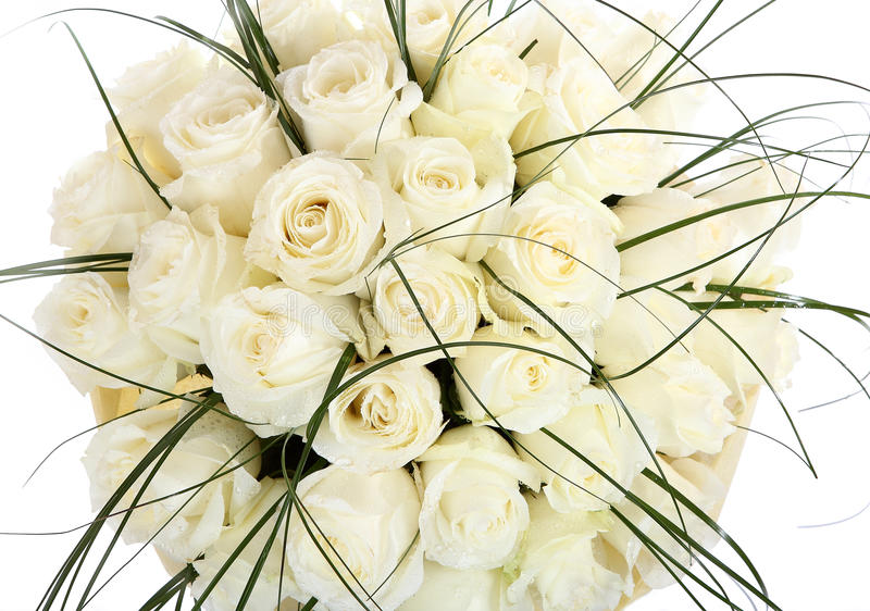 Download A Huge Bouquet Of White Roses. The Isolated Image On A White Background. Cream Colored Roses. Stock Photo - Image of bouquets, rose: 32323720
