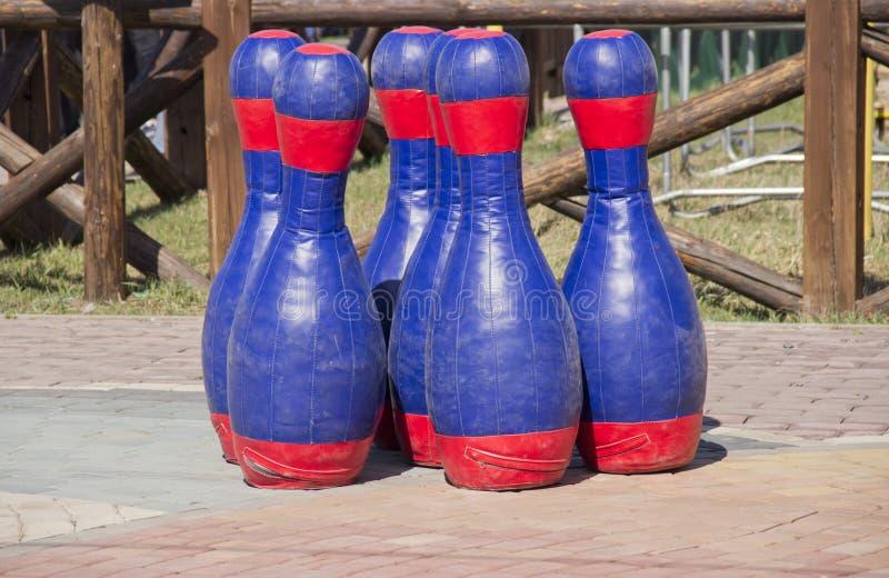 Huge bowling pins stock image
