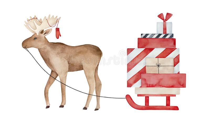 Huge brown moose with knitted mitten on antlers, carrying sled with many festive gift boxes. vector illustration