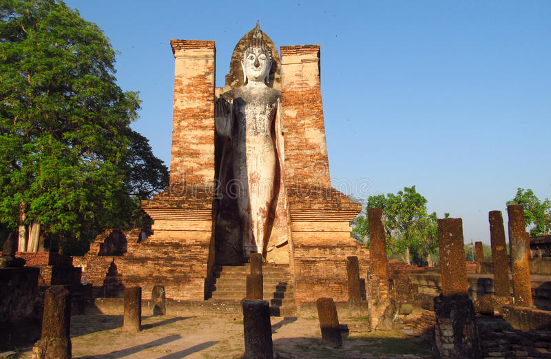 Huge Buddha statue Sukhothai Historical Park in Thailand royalty free stock photos