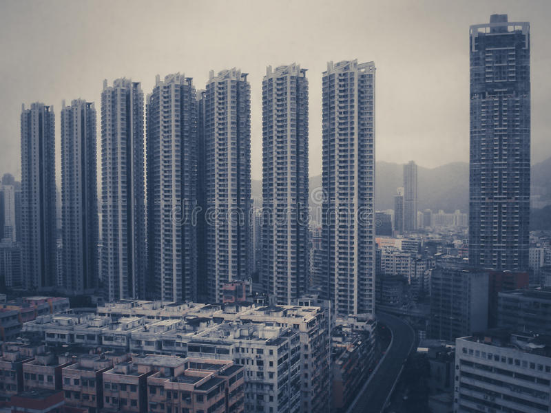 Huge building towers - skyscrapers in China - vintage filter royalty free stock photography