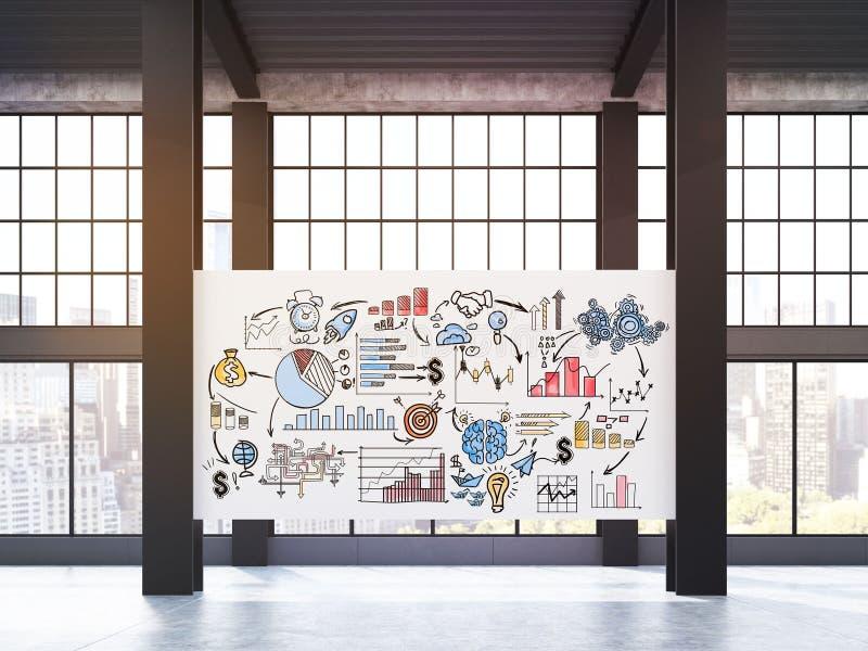 Huge business poster on pillars in loft royalty free illustration