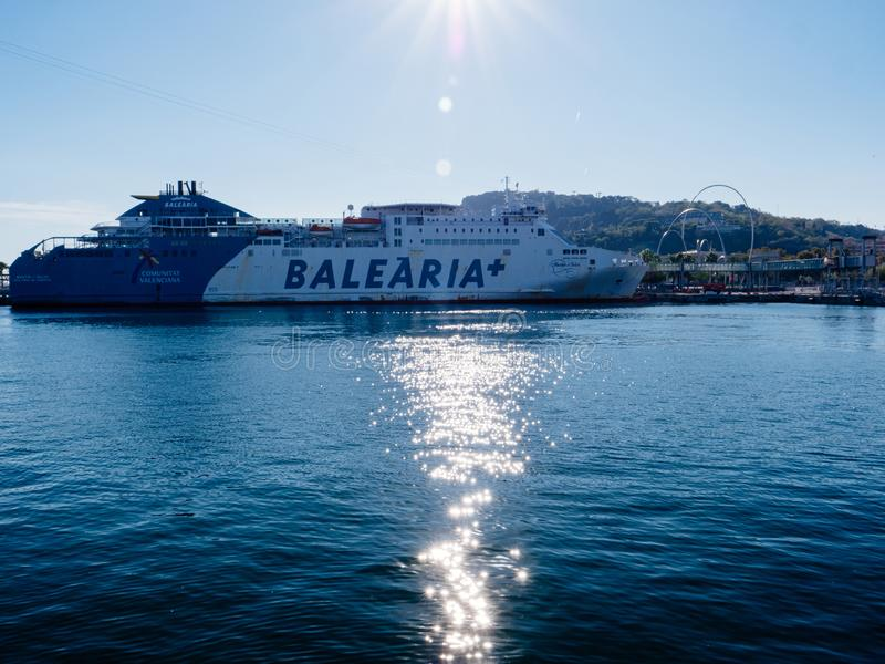 Huge cargo passenger transportation ferry boat operated by Balearia plus and Comunitat Valenciana on the calm waters royalty free stock photos