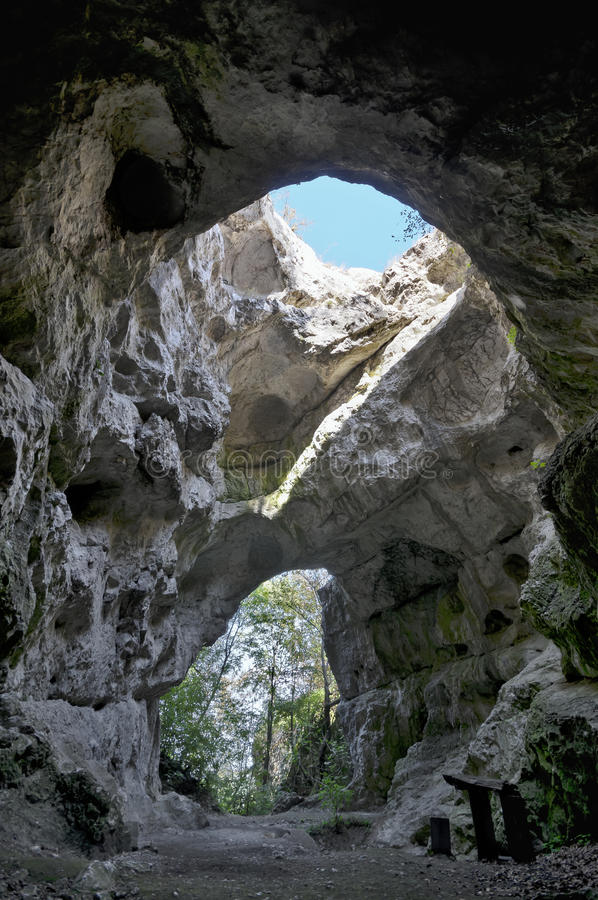Huge Cave Entrance From Inside Royalty Free Stock Photo