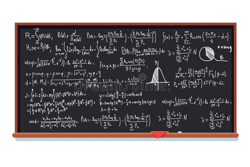 Huge chalkboard filled with mathematic formulas. Integral calculus theory proof. Flat style isolated vector illustration vector illustration