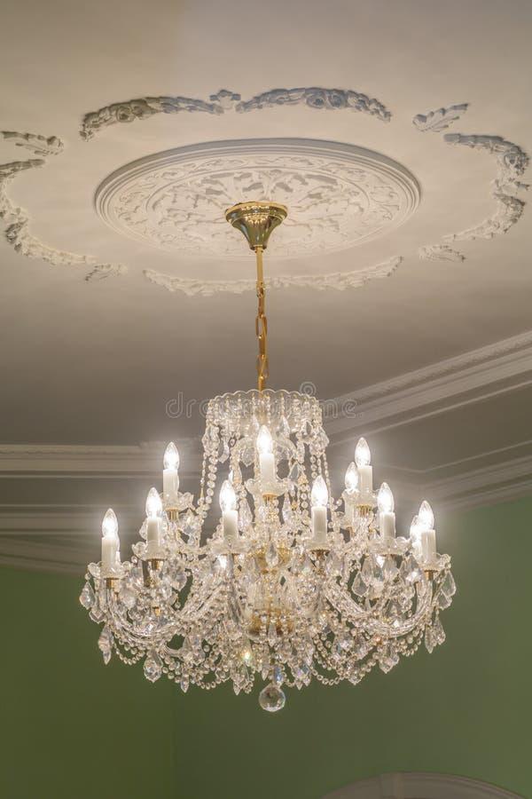Huge chandelier closeup stock photo