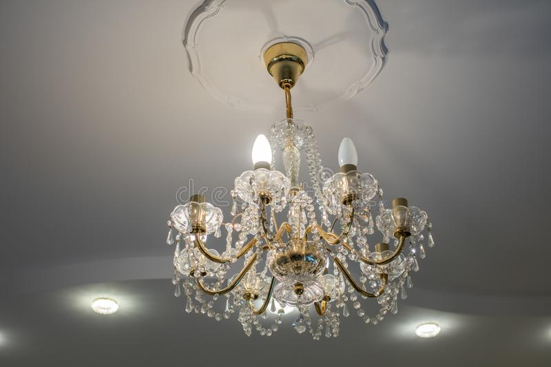 Huge chandelier closeup stock images
