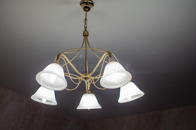 Huge chandelier closeup royalty free stock images