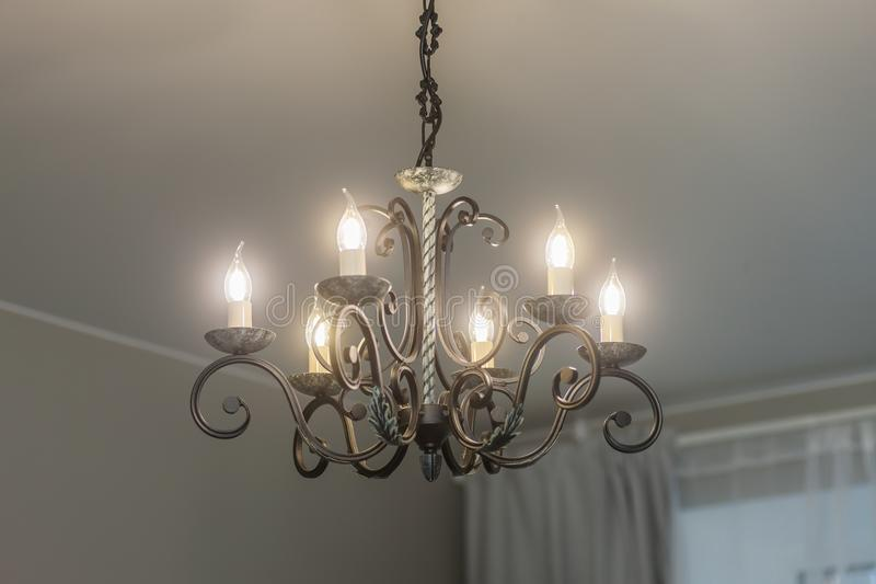 Huge chandelier closeup stock image