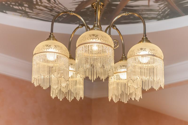 Huge chandelier closeup royalty free stock image
