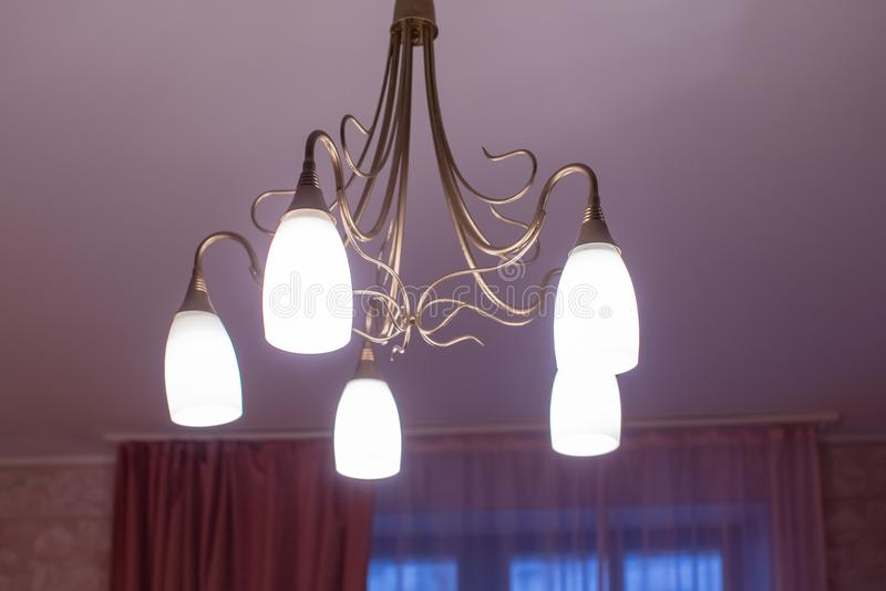 Huge chandelier closeup stock photography