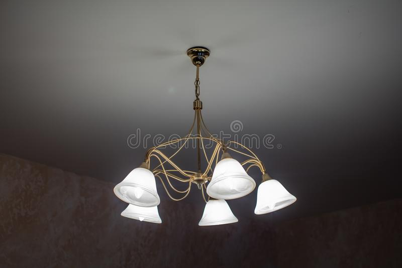 Huge chandelier closeup royalty free stock photography