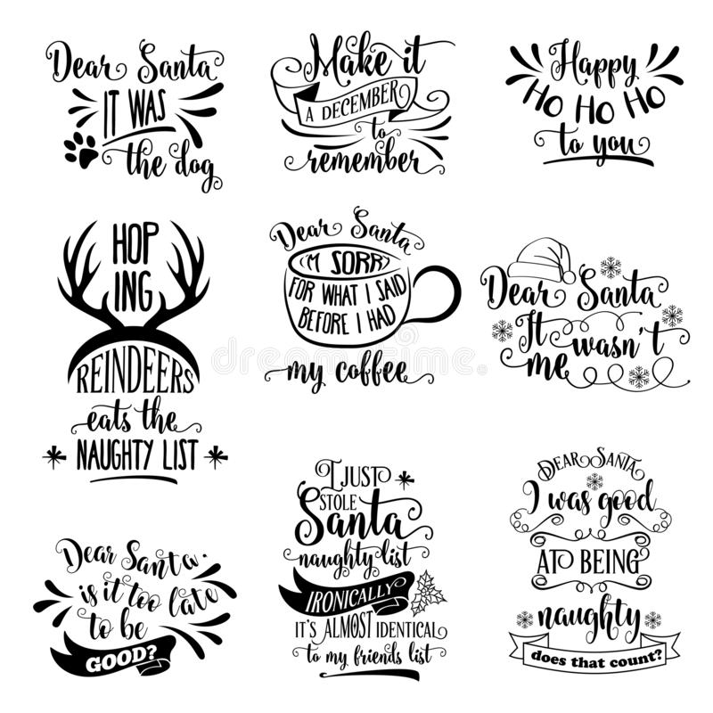 Free Huge Christmas Quotes Collection Isolated On White. Vector Stock Photo - 163157030