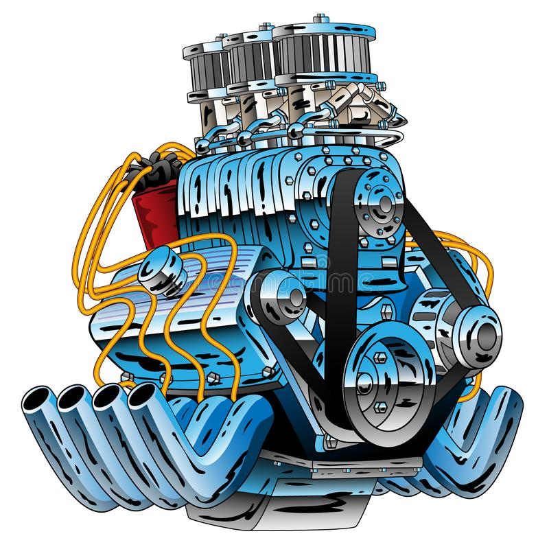 Hot Rod Race Car Dragster Engine Cartoon Vector Illustration. Huge chrome American style V8 drag racing muscle car hot rod motor with a six pack set of stock illustration