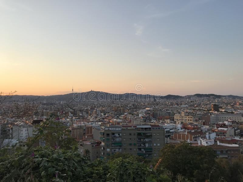 Panorama of the city from Montjuic, Barcelona, Spain, Europe, stock image