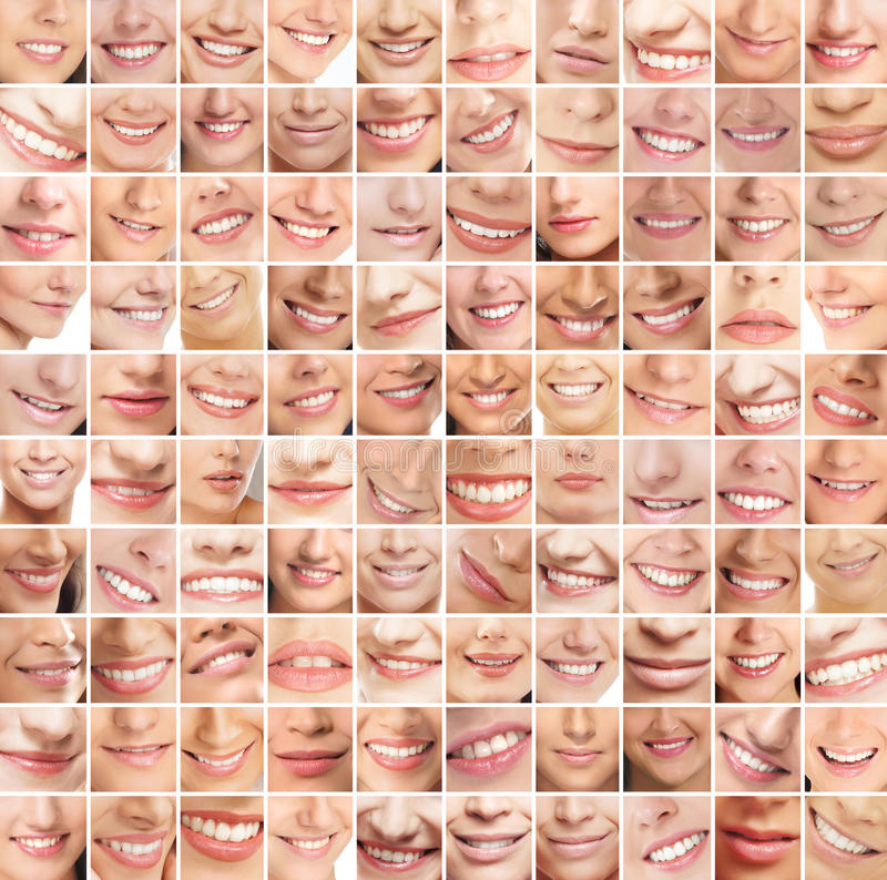 A huge collage of many different female smiles. A huge collage of many female smiles. A total of hundred different images to use