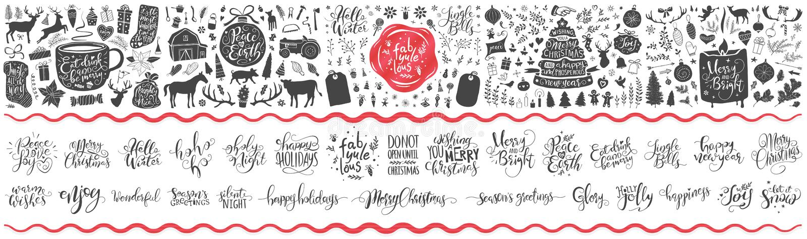 Huge collection of christmas ornaments, flowers, gifts, trees and much more. Hand lettered christmas greetings, words and quotes. Also included vector illustration