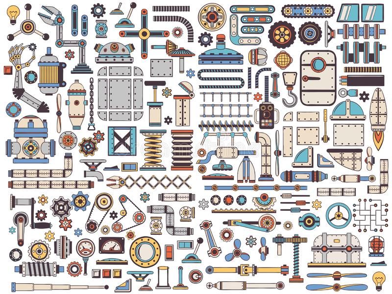 Isolated details of machines. A huge collection of isolated machinery items, spare parts, equipment, elements stock illustration