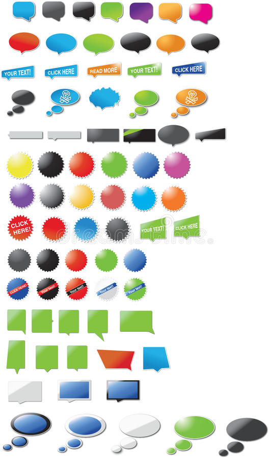 Huge collection of modern designed speech bubbles vector illustration