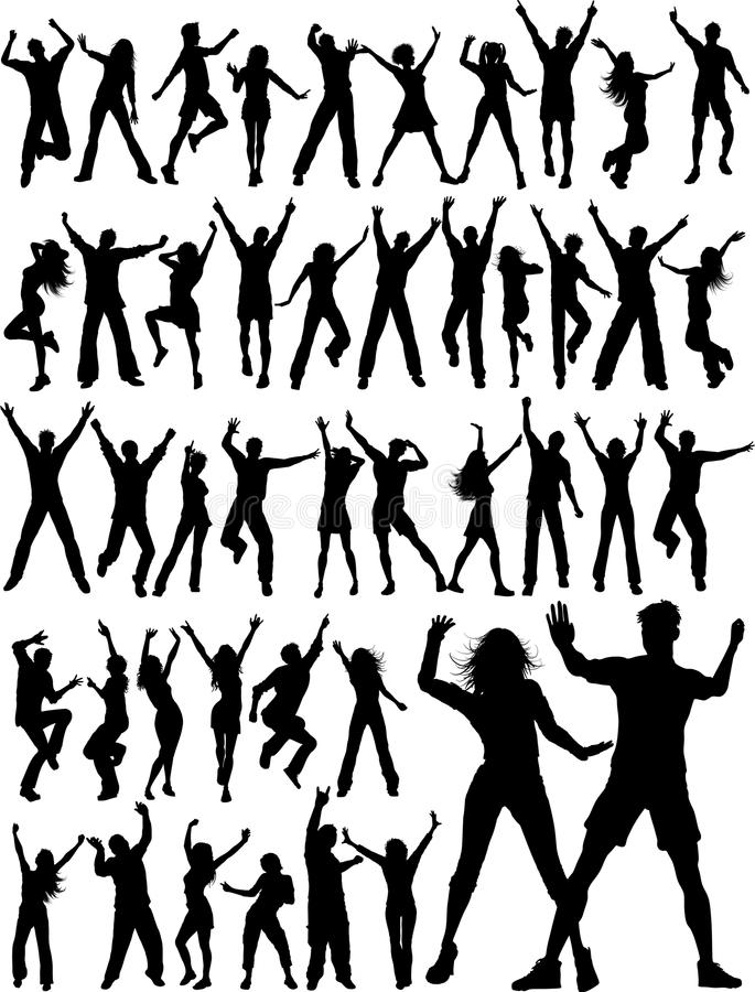 Huge collection of party people royalty free illustration