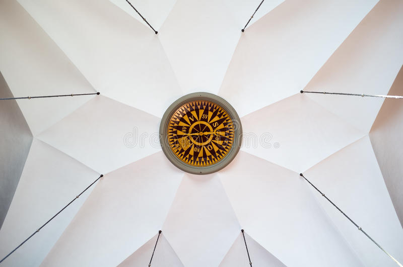 Huge compass on a ceiling in a beautifull church. stock image