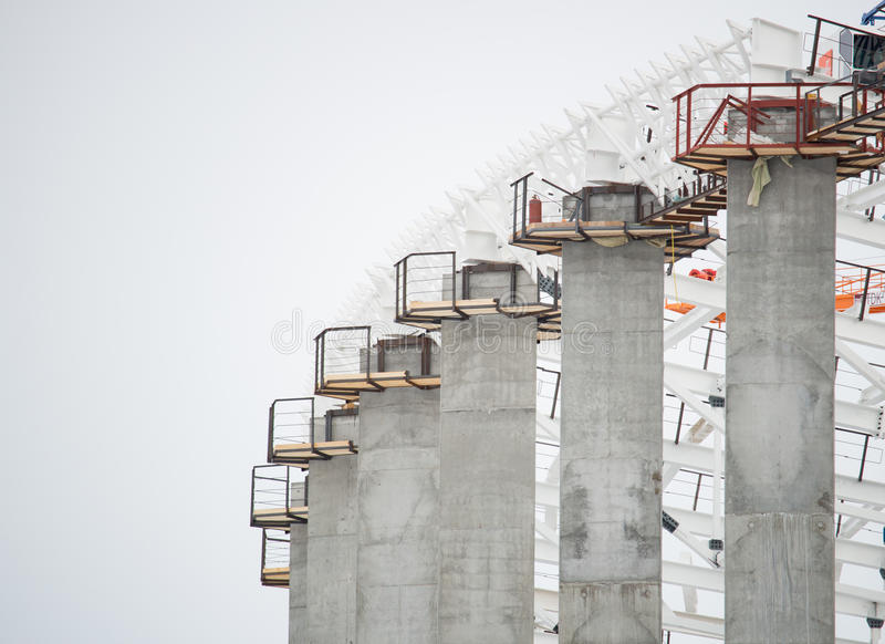 Huge concrete and metal constructions stock images