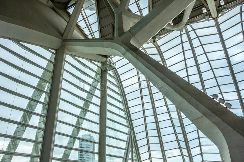 Inside roof structure of the Science Museum of Valencia royalty free stock photo