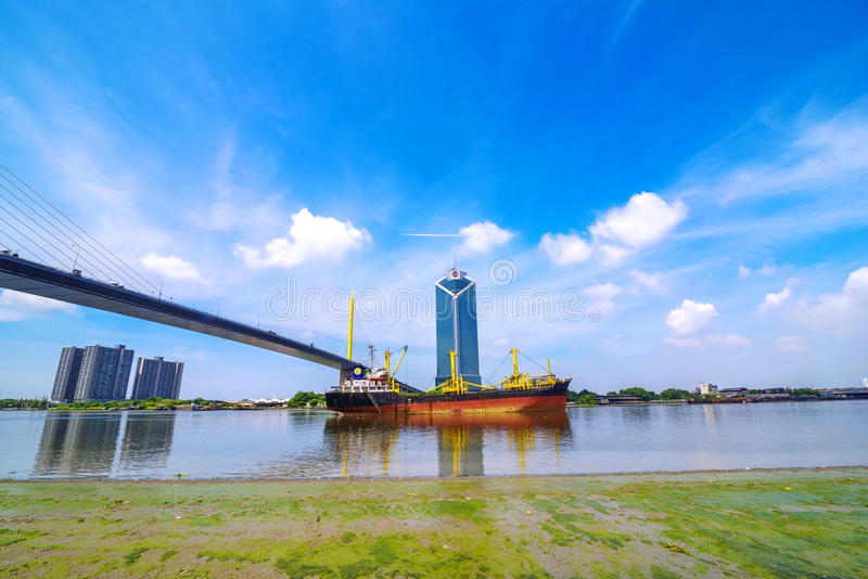 Huge Container Ship entering port of Bangkok stock photography