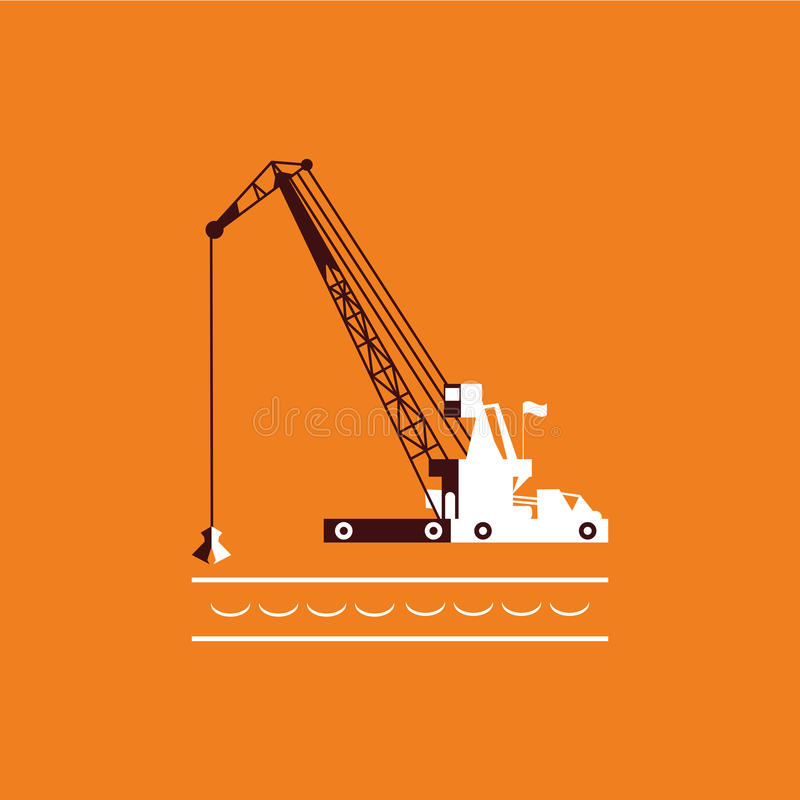 Huge crane barge Industrial ship that digs sand marine dredging digging sea bottom. orange and dark brown. Vector stock illustration