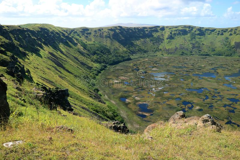 Huge Crater Lake of Rano Kau Volcano View from Orongo Ceremonial Village on Easter Island of Chile. Beauty in Nature stock photography