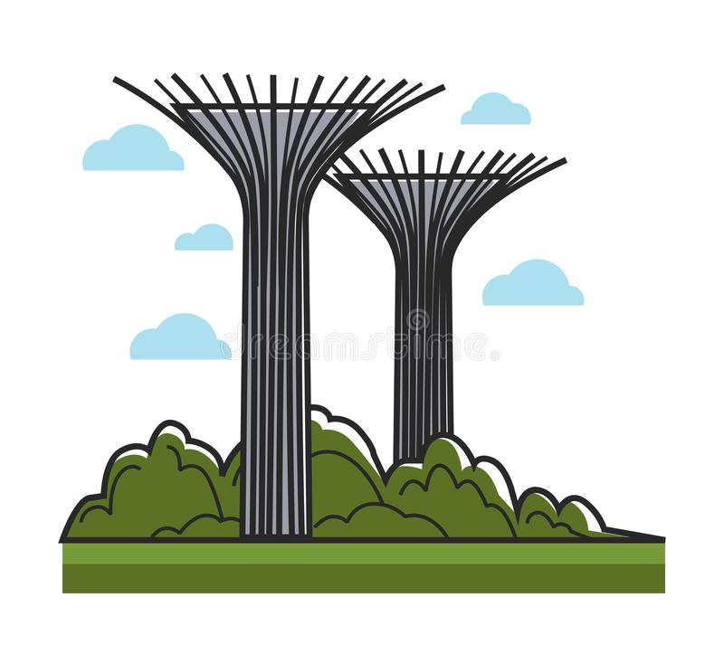 Huge creative towers with bowls on top and metal sticks royalty free illustration