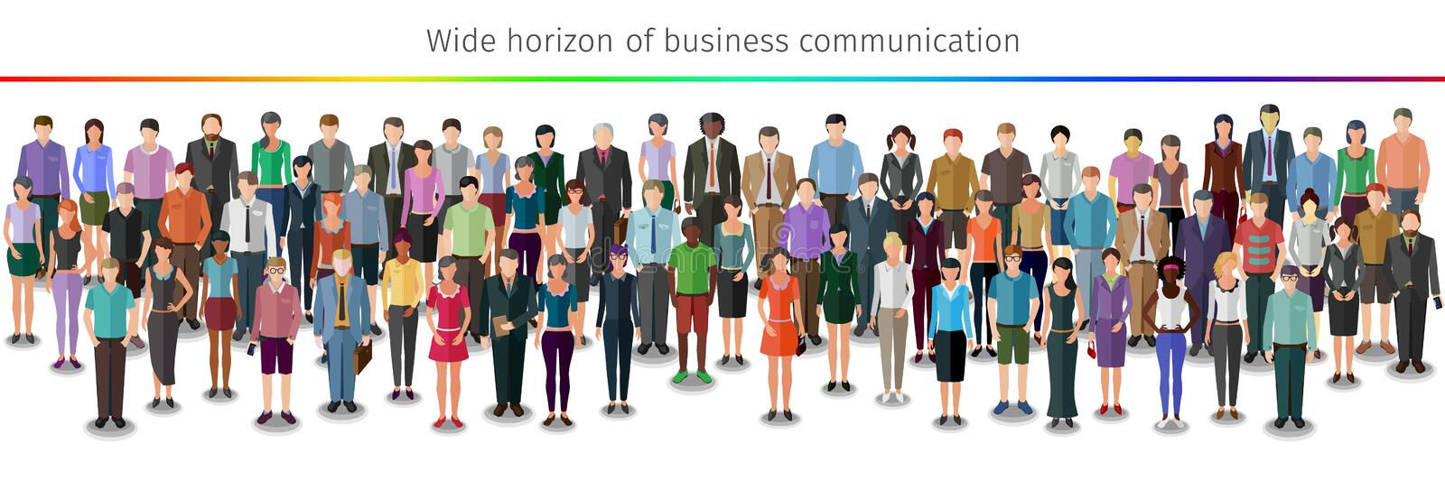 Huge crowd of people. Huge crowd of different vector people standing in rows vector illustration