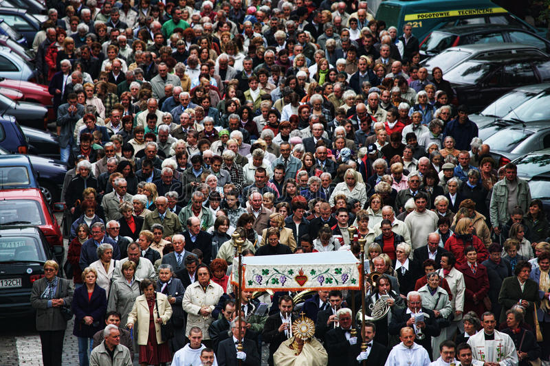 Huge crowd of people. Crowd of people in Wroclaw - Poland stock images
