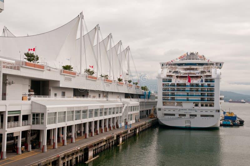 Huge cruise ship at harbor royalty free stock photos