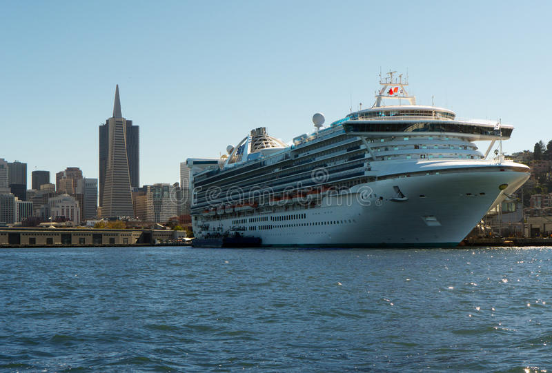Huge cruise ship moored in San Francisco stock images