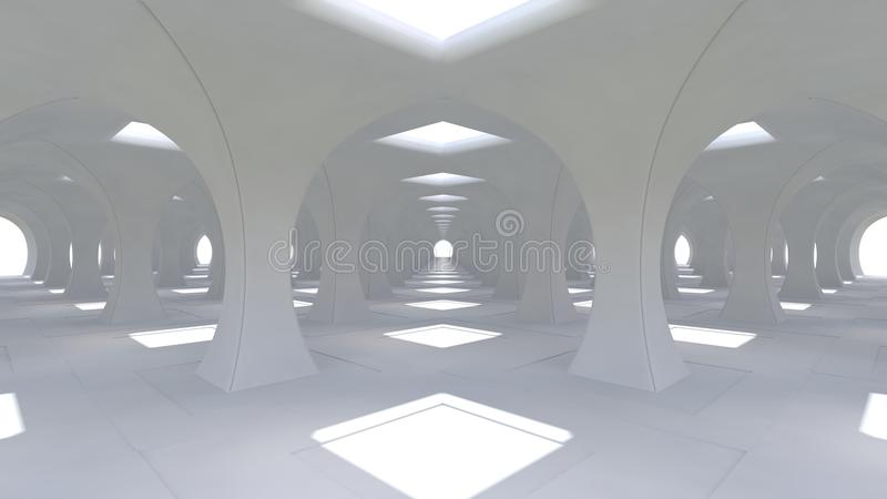 A huge 3d white hall with columns of rhombic shape going into the distance. 3d renderng. A huge 3d white hall with columns of rhombic shape going into the stock illustration