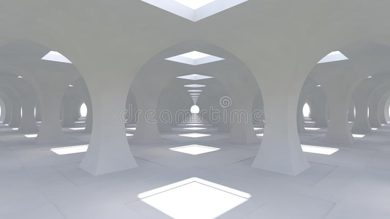 A huge 3d white hall with columns of rhombic shape going into the distance. 3d renderng. A huge 3d white hall with columns of rhombic shape going into the vector illustration