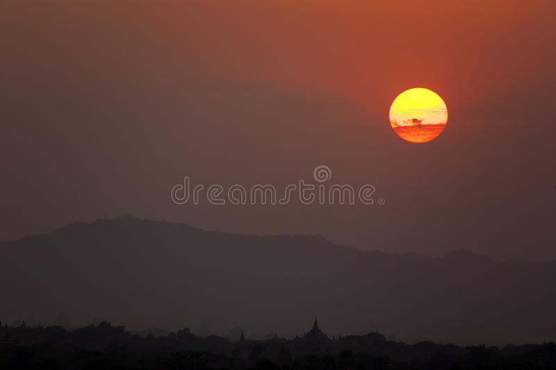 Download Dramatic Sunset in Bagan stock image. Image of paya, building - 29866783
