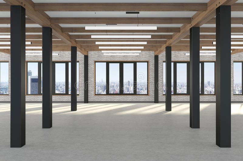 A huge empty room with large windows  overlooking the metropolis, iron columns and wooden beams in the loft style. Concrete floor stock illustration