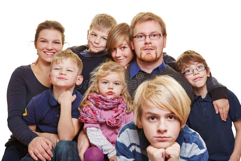 Huge family portrait. With parents and six kids stock photography
