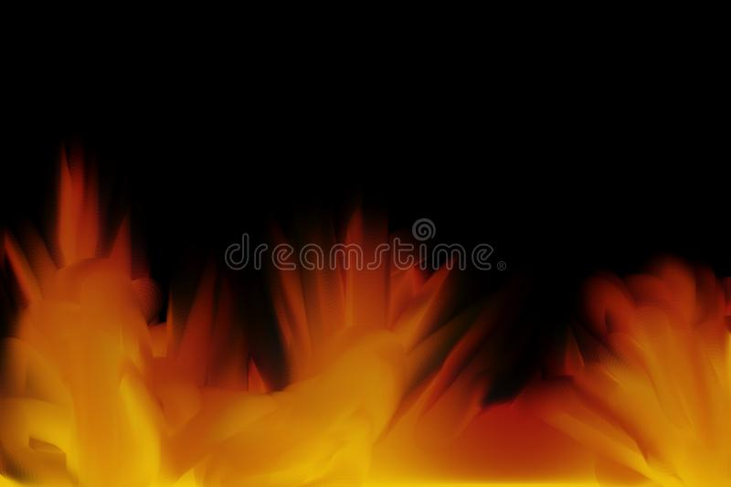 Fire Disaster in the Night. This is a digital art illustration. The illustration shows a huge fire disaster in the night stock illustration