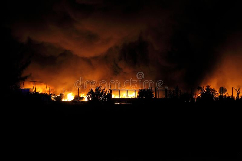 Huge Fire. Spreading over buildings stock image