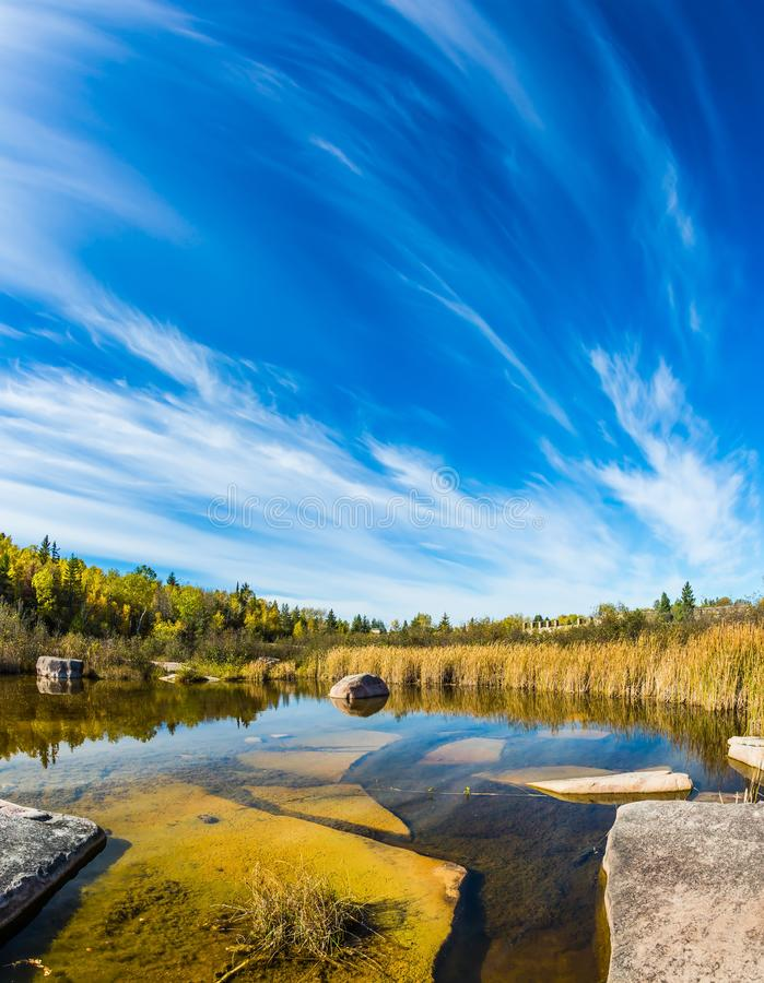 Huge flat stones in Winnipeg River royalty free stock photography