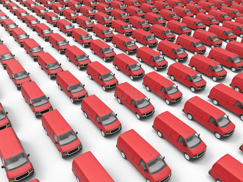 Huge fleet of delivery vans. 3D render illustration of a huge fleet of delivery vans. The composition is isolated on a white background with shadows stock illustration