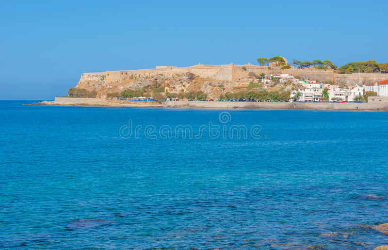 The huge fortress. Venetian Fortress also known as Fortezza is the most notable landmark of Rethymno, Greece stock image