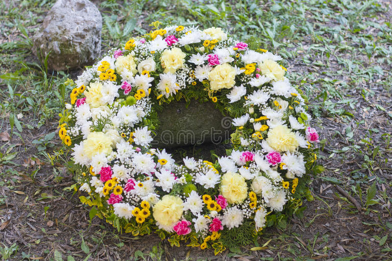 Huge funeral wreath. Made of roses stock images