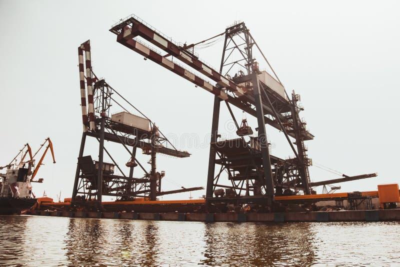 Huge gantry cranes. Port of Burgas royalty free stock photos