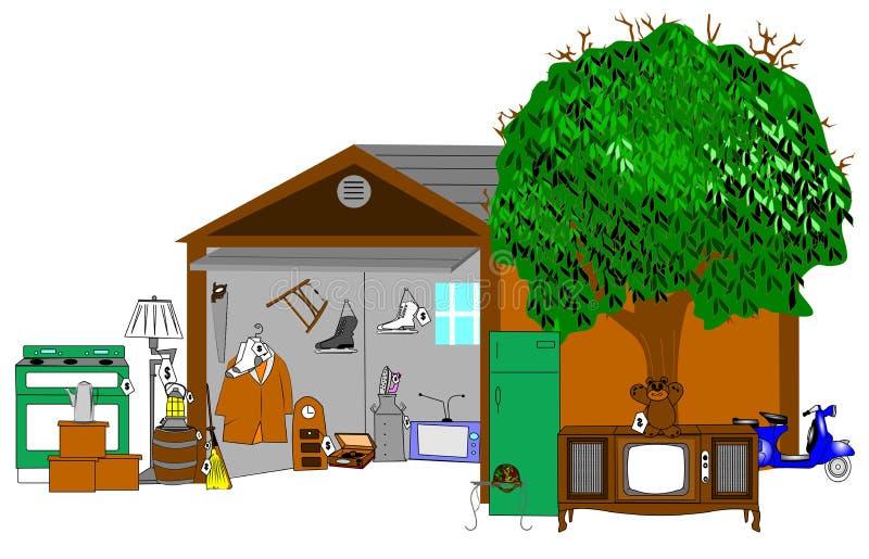 Huge garage sale background royalty free illustration