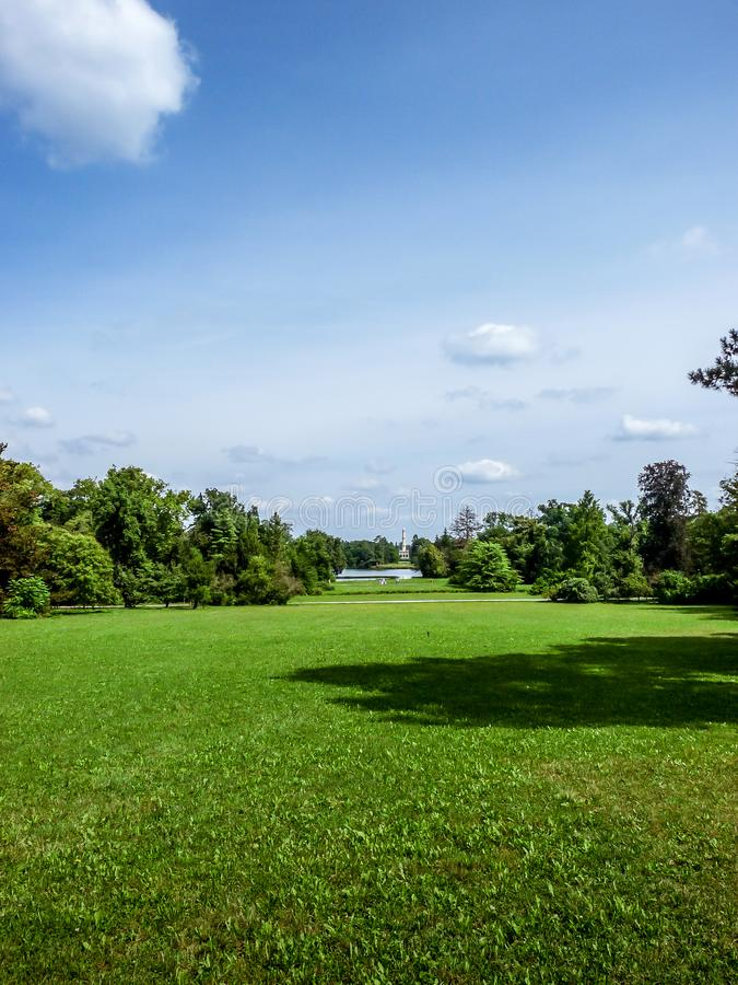 A huge garden leading to the minaret. Beautiful nature royalty free stock photos